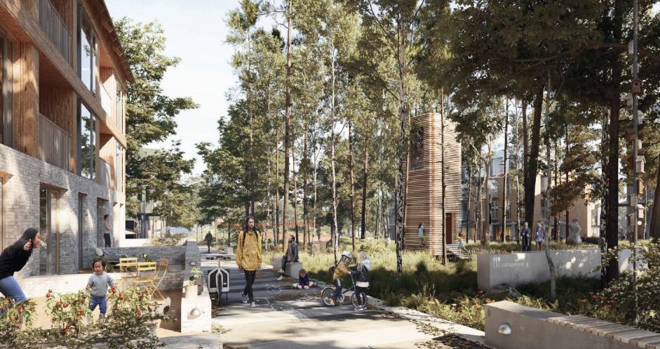 En del af det centrale Vinge ifølge udviklingsplanen. Illustration: Arkitema.