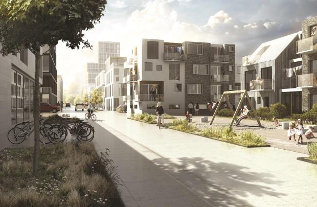 Visualisering af Vinge Centrum - krediteres Henning Larsen Arkitekter og Effekt.